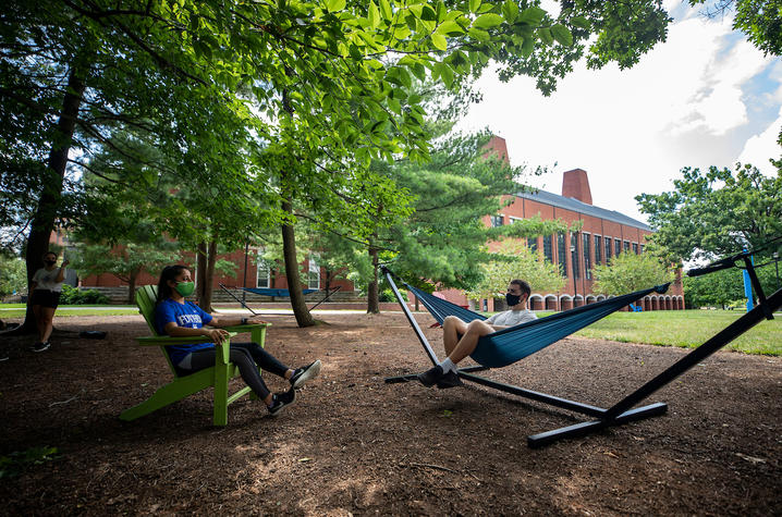 photo of students at hammock garden on UK campus