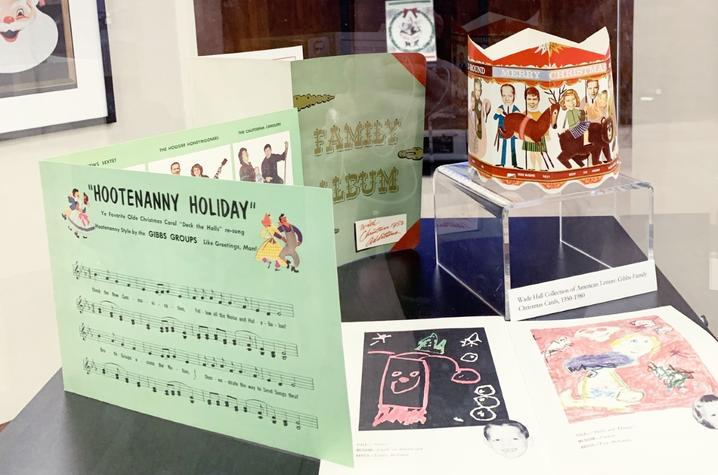 image of items from Special Collections in Holiday Hootenanny exhibit