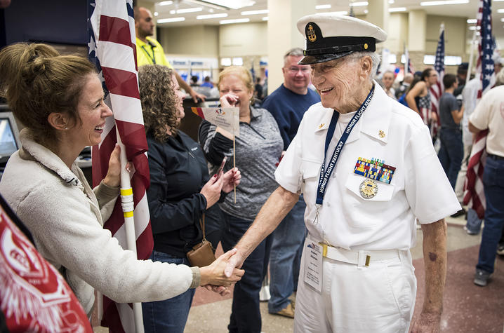Photo of Howard Hitsman at the Kentucky Honor Flight Homecoming on 9/22.