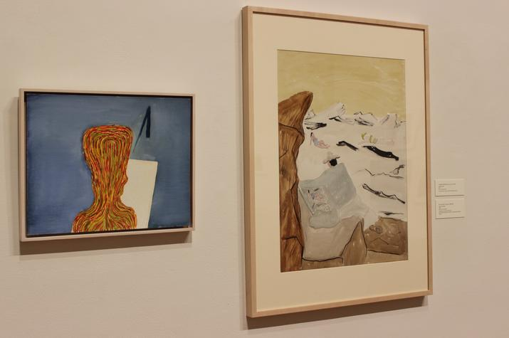 "photo of Thomas Nozkowski's ""Untitled"" and Milton Avery's ""Artist and Model"" at UK Art Museum"