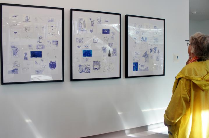 photo of visitor looking at wildcat drawings at Gatton Student Center