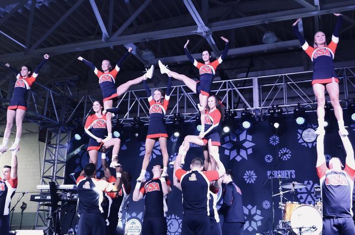 This is a photo of UK Cheerleaders,UK Cheerleaders, representing USA Cheer & Team USA, at the 2018 Winter Olympics.