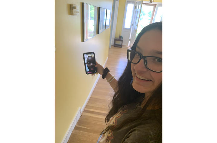 Grace Monjero and Sophia Goodin using video chat