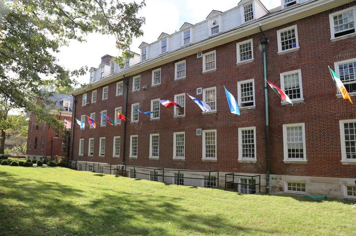 photo of flags on Bradley Hall