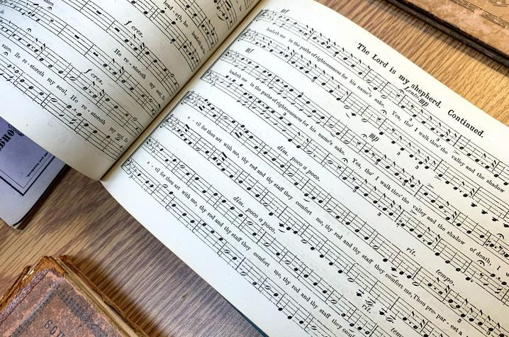 """photo of """"The Lord is my shepherd"""" song in """"Dupuy's Hymns and Spiritual Songs"""" by John M. Peck (1843)"""