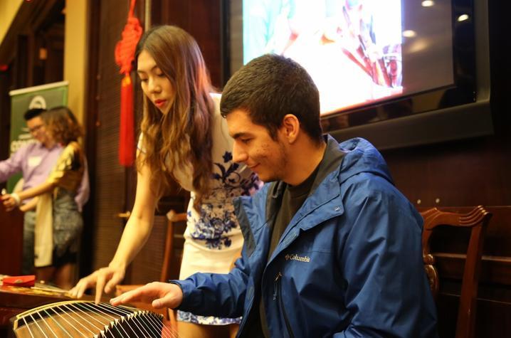 photo of instrument demo at Confucius Institute Student Night