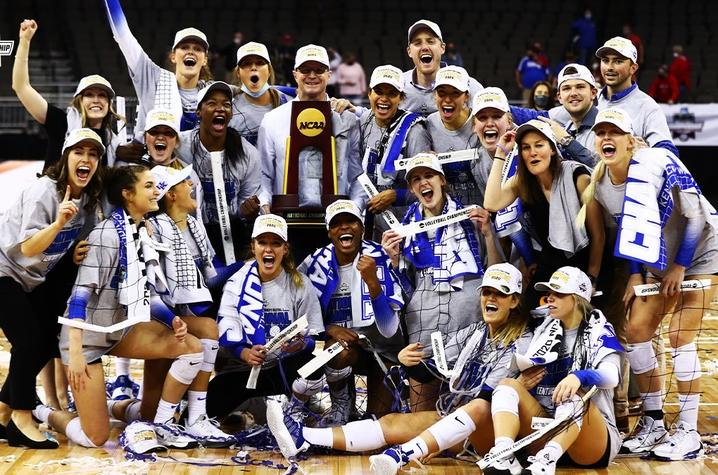 This is a photo of the UK Volleyball team upon winning the NCAA Championship.