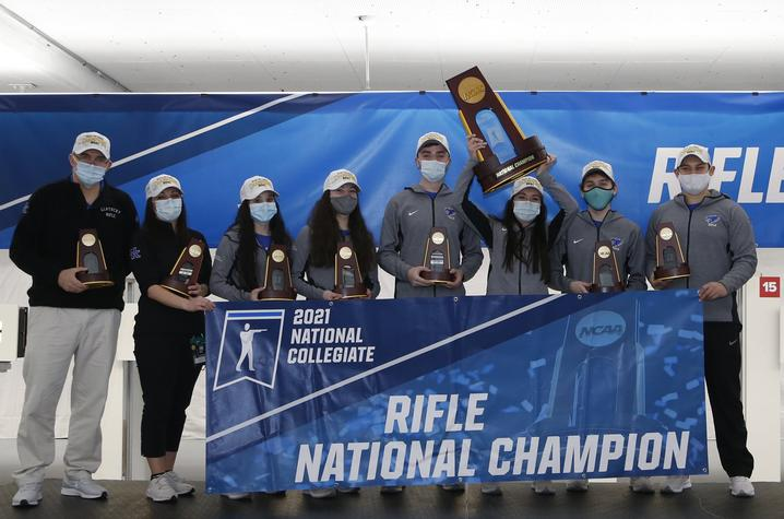 This is a photo of the UK Rifle team, upon winning the NCAA Championship, Photo by UK Athletics