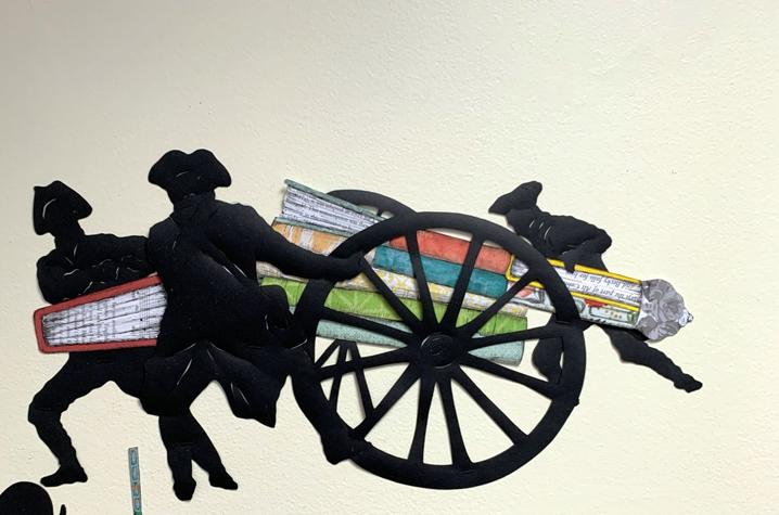 """detail image of soldiers moving canon from Ivy Johnson Fleming's mural """"A Call to Arms"""""""