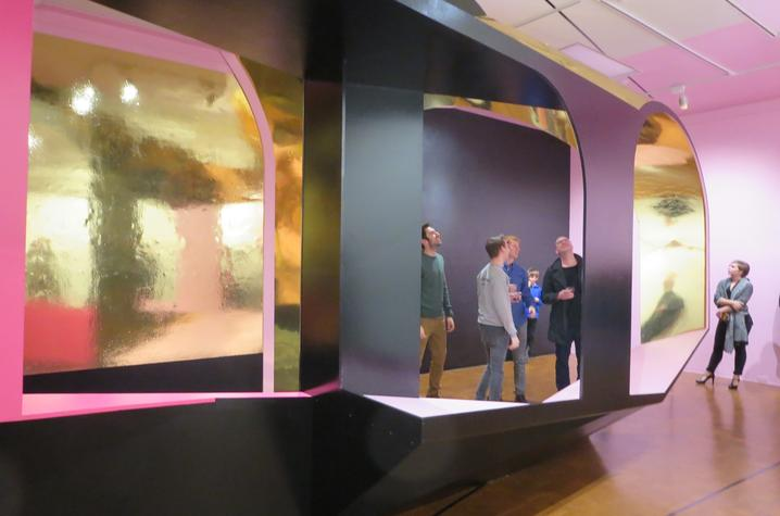 "photo of people inside Mike McKay's ""Singularities"" at UK Art Museum"
