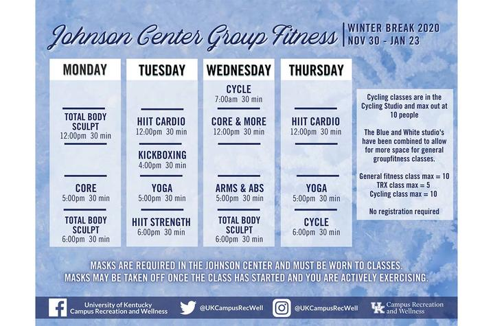 Johnson Center class schedule for winter break