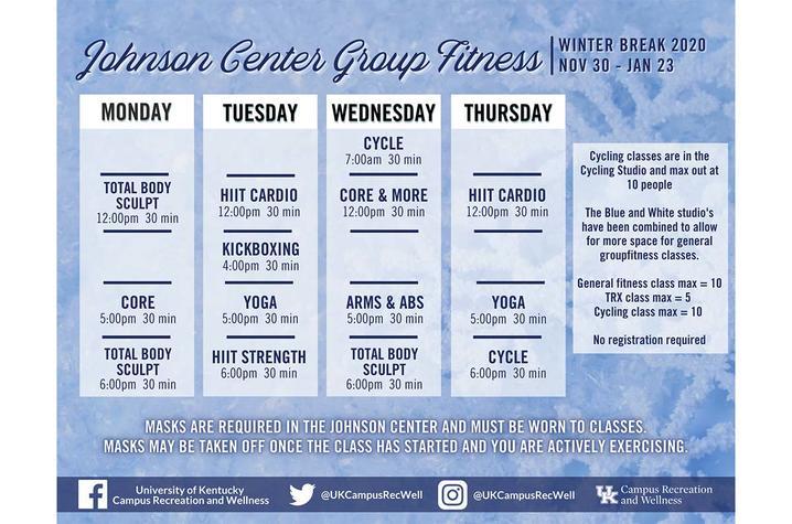 Johnson Center class schedule for winter break