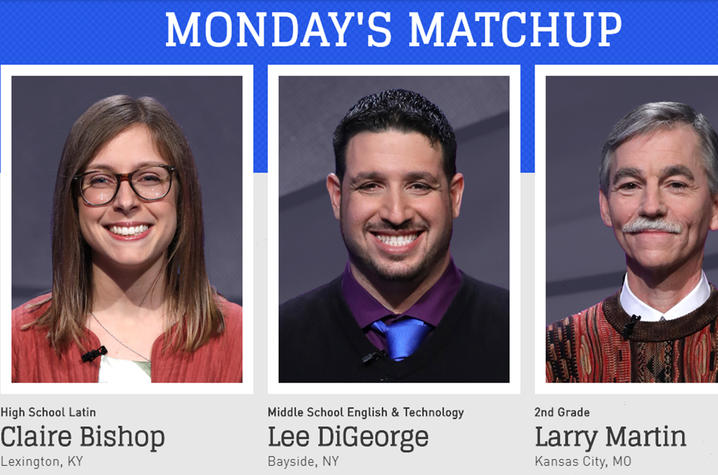 """headshot photos of contestants on May 7 episode """"Jeopardy!"""""""