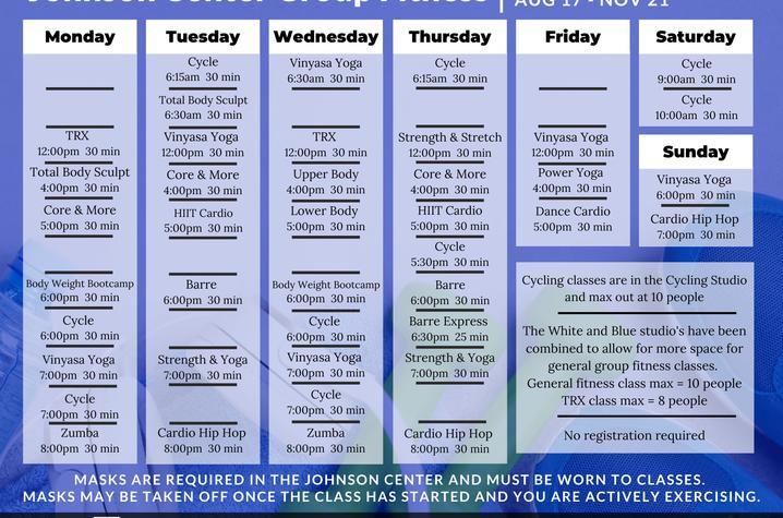 Johnson Center class schedule fall 2020