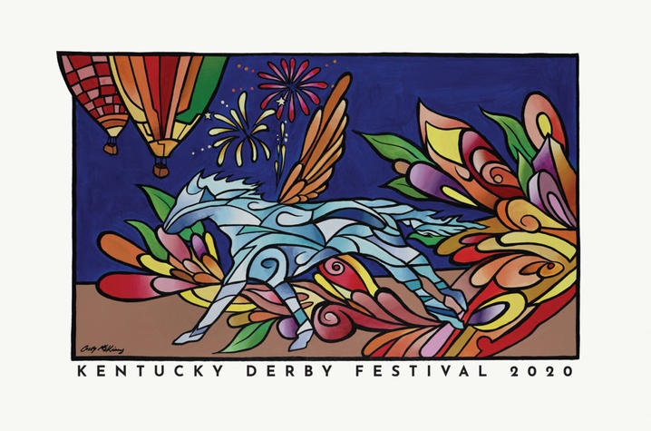 "photo of Kentucky Derby Festival poster ""Pegasus in Bloom"" by Casey McKinney"
