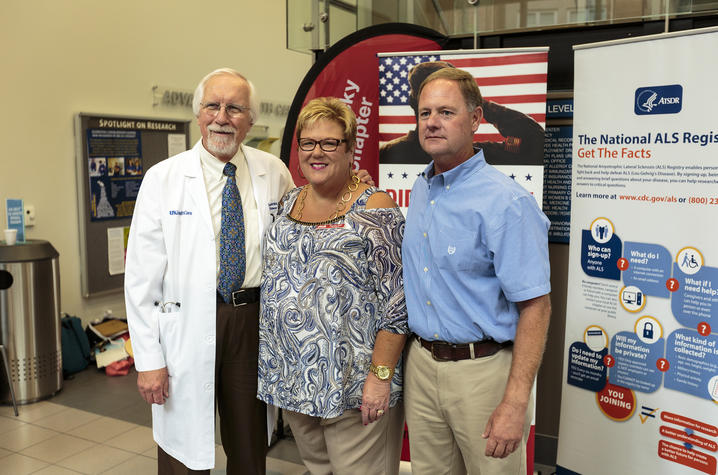 Photo of Dr. Edward Kasarskis, Patricia Peak, and Roddy Williams