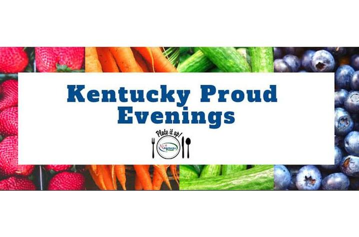 Kentucky Proud Evening logo with background of fresh strawberries, carrots, cucumbers and blueberries