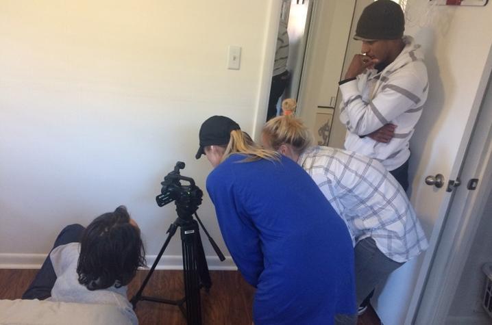 Photo of UK students on set of PSA