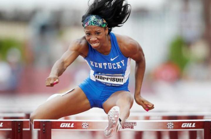 photo of Keni Harrison competing for UK in hurdles