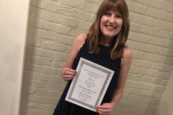 photo of Kristen Karem with KCATF certificate
