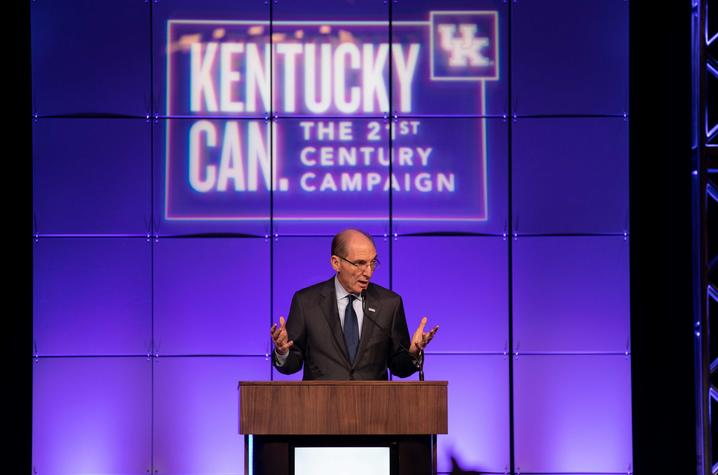 Photo of UK President Eli Capilouto at kickoff of Kentucky Can campaign in Louisville