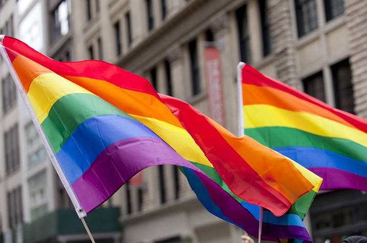 photo of multi colored flag symbolic of LGBTQ*