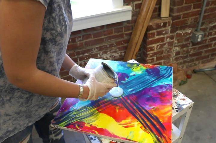 photo of student working in Fine Arts Institute painting class