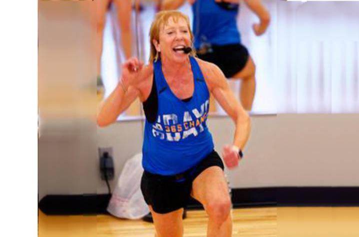 Lisa Hall teaches a fitness class.