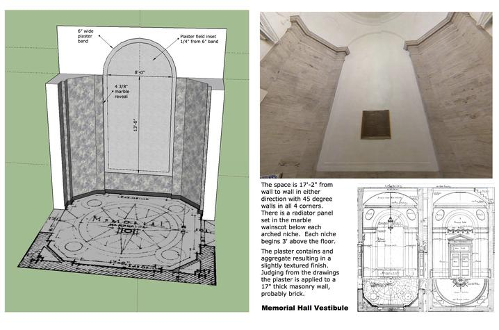 photo of drawing and photo of arched spaces in Memorial Hall