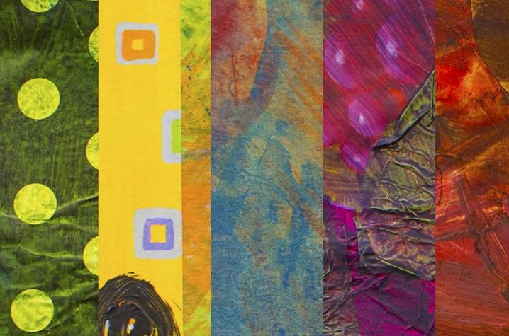 photo of collage of student work from Fine Arts Institute mixed media class
