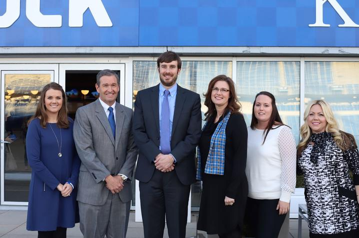 Last year's Mobley Award winners, (from left) Jamie Risen, Mitch Barnhart, Greg Casey, Lori Eckdahl, Tarin Adams and Amber Bowling, were honored at a ceremony at Kroger Field.