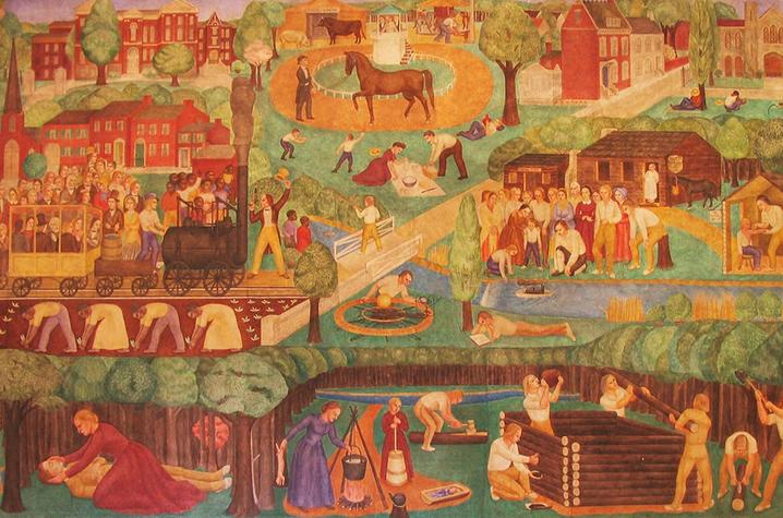 photo of detail from Ann Rice O'Hanlon fresco in Memorial Hall