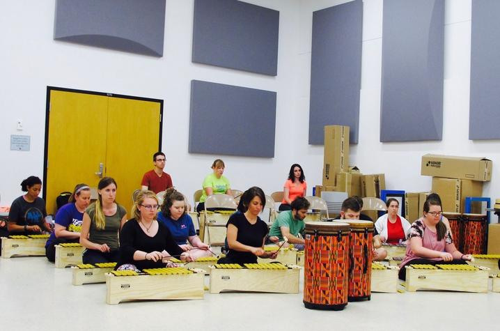 photo of participants seated with xylophones in Orff Schulwerk program