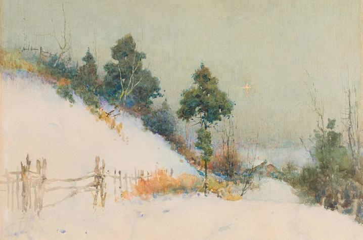 Photo of Paul Sawyier painting with snowy landscape
