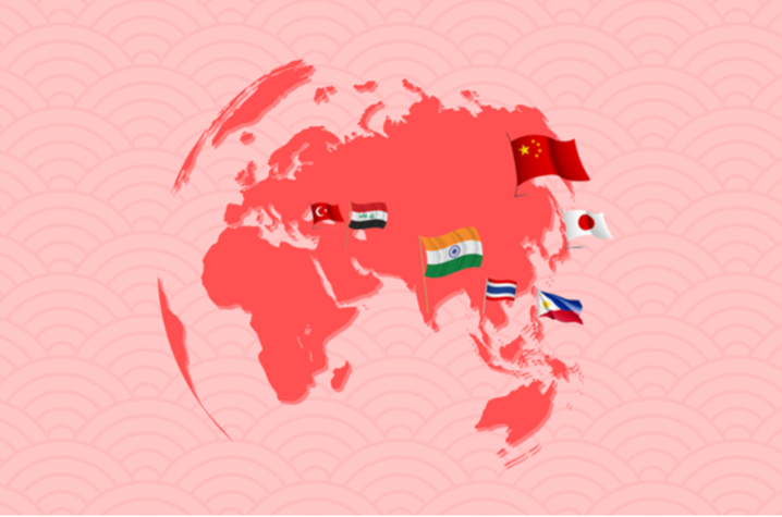 Photo of world map with flags on it