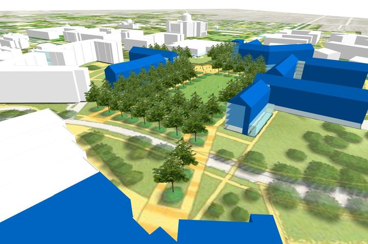 rendering of proposed new housing and green space where Kirwan-Blanding Complex now stands.
