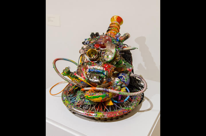 """photo of colorful sculpture """"Ancestral Head #3"""" by Robert Morgan"""
