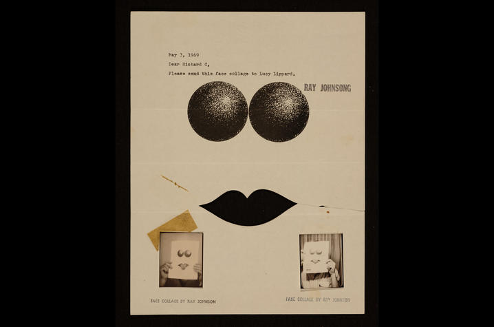 photo of Ray Johnson mail art to Lucy Lippard (May 3, 1969)