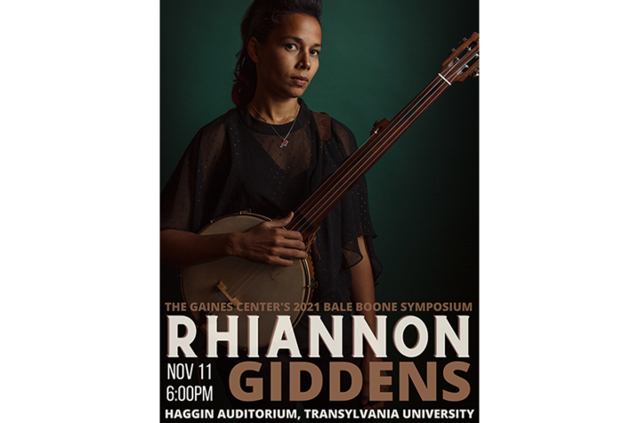 2021 Bale Boone Symposium poster with Rhiannon Giddens holding banjo