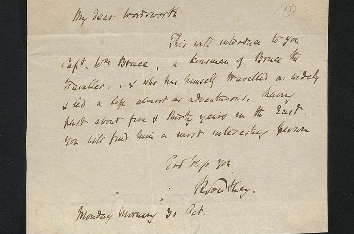 photo of Robert Southey letter to William Wordsworth