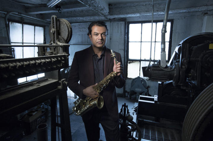 photo of Rudresh Mahanthappa with saxophone
