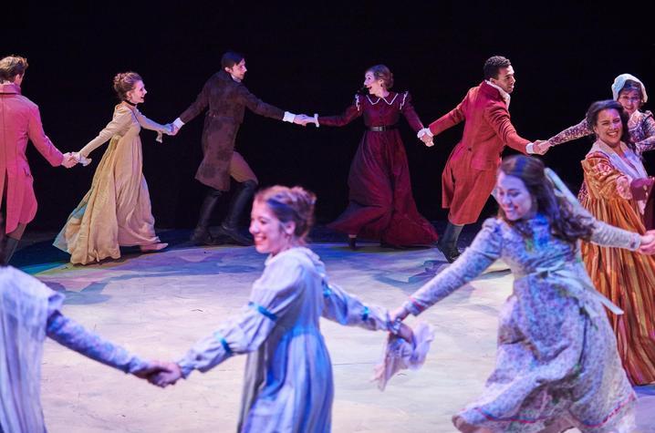 "photo of cast of ""Sense and Sensibility"" dancing - UK Theatre"