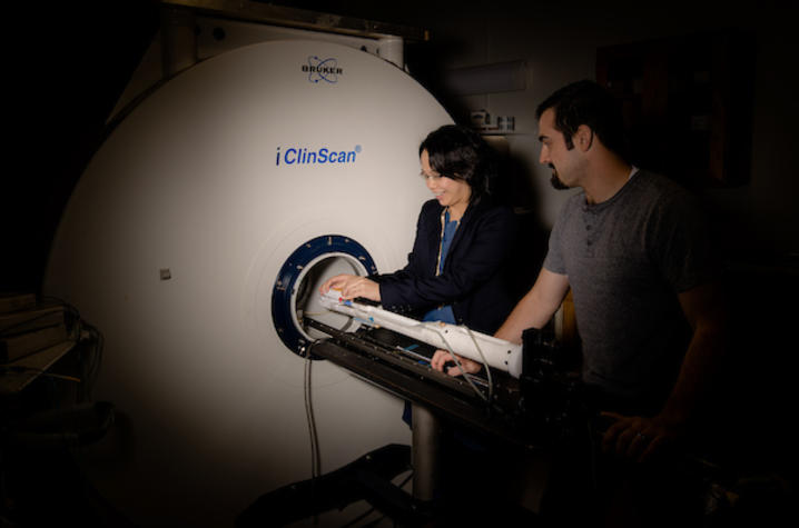 Photo of Dr. Ai-Ling Lin, UK Sanders-Brown Center on Aging, and Scott Thalman, a MD/PhD student in Biomedical Engineering.
