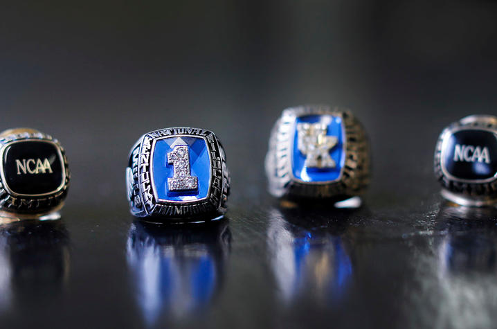 This is a photo of Cameron Mills' NCAA Title Rings.