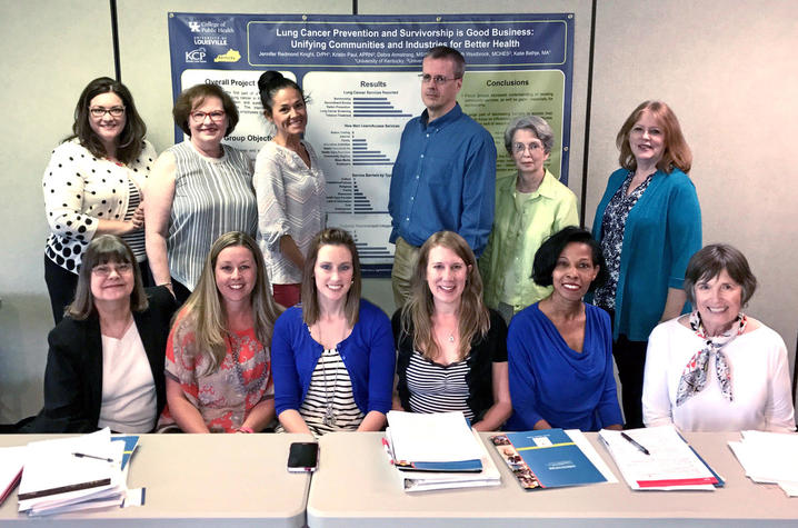 University of Kentucky assistant professor Jennifer Knight (bottom, third from right) with coalition of UK and University of Louisville colleagues working to address lung cancer disparity in rural Kentucky