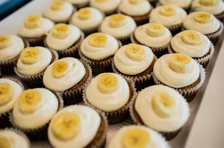 Detail of banana-topped cupcakes