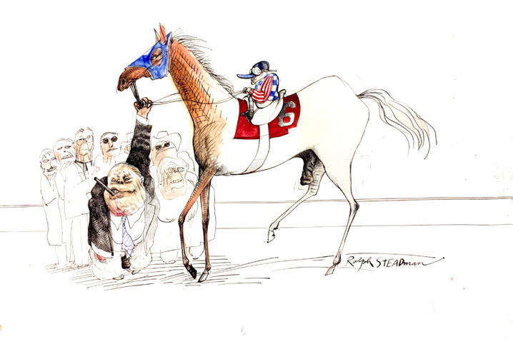 """photo of illustration """"The Kentucky Derby is Decadent and Depraved"""" by Ralph Steadman"""
