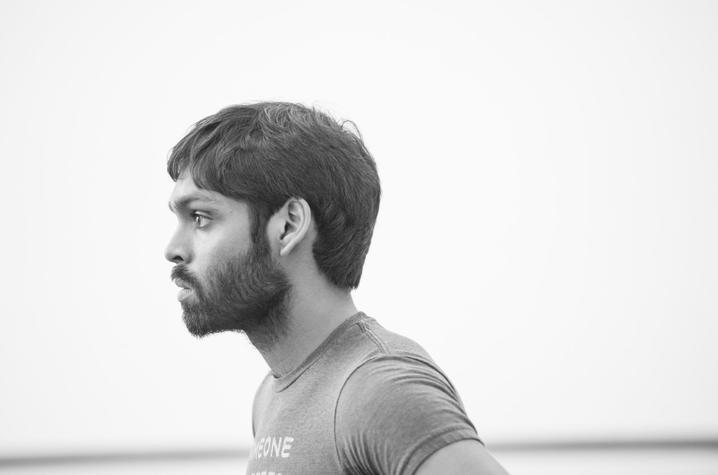 black and white photo of Sanjay Saverimuttu