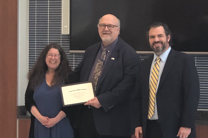 The Academic Ombud Office receiving an award at the 2019 DRC recognition ceremony.