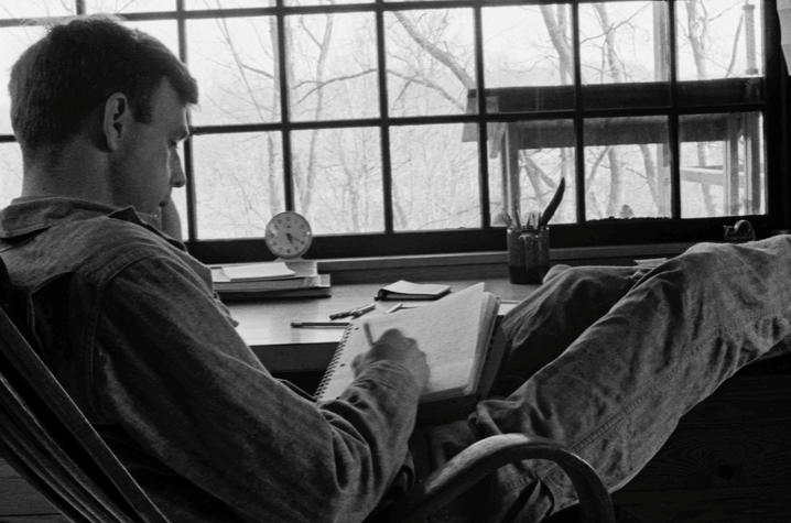 "photo of Wendell Berry at his writing desk - ""Look and See"""